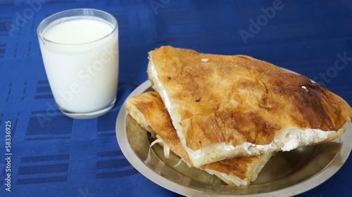 Burek (börek) with cheese and yogurt