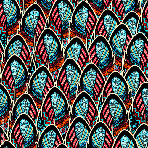 Seamless pattern with ornate feathers - 58336992