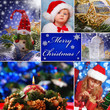 collage with christmas decorations and children in santa hat