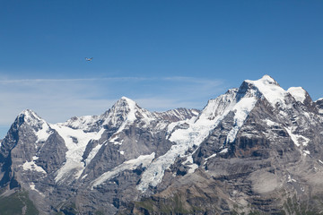 Small plane & mountains - view from Mt. Schilthorn
