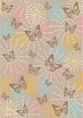 vintage butterflies and ornaments wallpaper