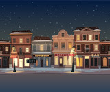 Fototapety City background. Merry Christmas illustration.