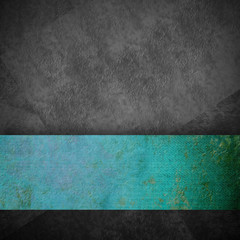 gray grunge background and turquoise ribbon