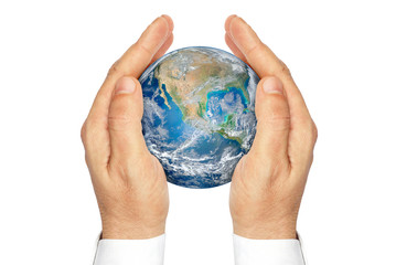Hands holding the planet Earth isolated on a white background.