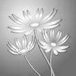бумажные цветы на сером фоне