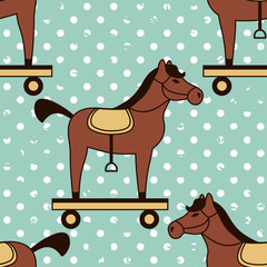 toy horses seamless pattern