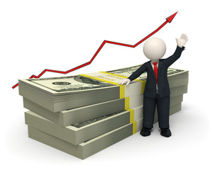 3d succesful business man - pack of money - graph arrow