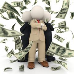 Succesful 3d business team - money rain