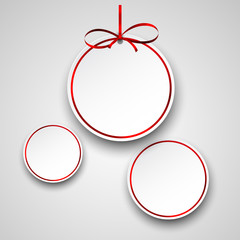 White paper round holiday labels.
