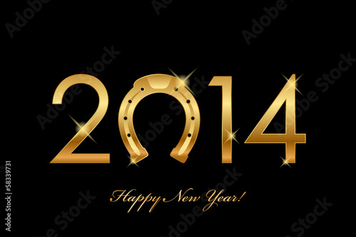 Vector 2014 new year background with horseshoe
