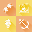 Summer colorful flat icons