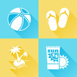 Beach colorful flat icons