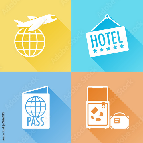 Trip colorful flat icons