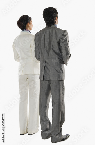 Rear view of two business executives