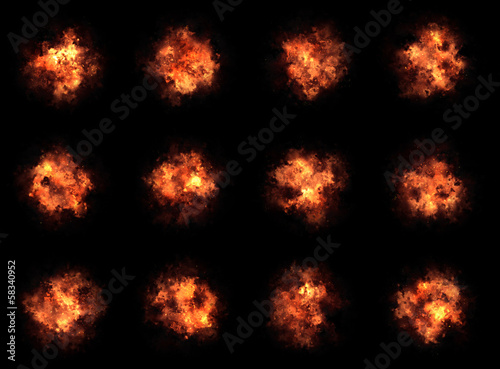 many different bright explosion flash on a black backgrounds