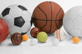 Close-up of assorted sports balls