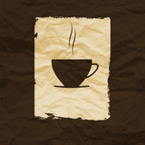 Cup of coffee or tea isolated on crumpled paper