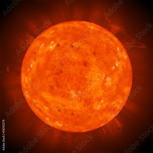 bright hot round planet on a dark backgrounds