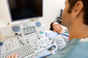 Nurse Performing Ultrasound Procedure