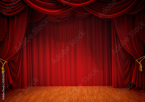 Deurstickers Theater stage with red curtain