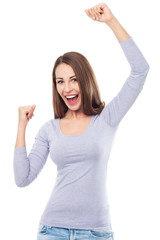 Young woman cheering