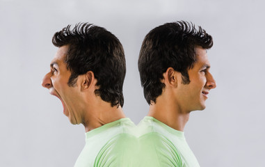 Digital composite image of a man yelling at self
