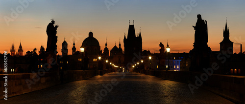 panoramic view of Charles Bridge before dawn