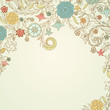 Vintage background with doodle flowers