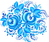 Abstract floral vector element in gzhel style