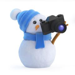 Snowman snaps a picture