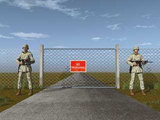 Soldados montando guardia frente a un portón