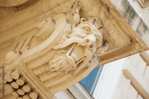 Antique fretwork on historical building in Odessa downtown