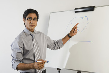 Portrait of a teacher in front of a whiteboard