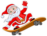 Santa Claus on Skateboard
