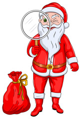 Santa Claus with Magnify Glass