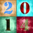 2014, chiffres vintage couleur