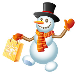 Christmas Shopping Snowman