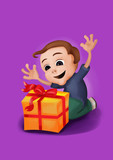 Happy, surprised boy receiving a box, on a purple background