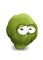 Sad green brussels sprouts cartoon, a disappointed character.