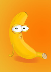Sad yellow banana cartoon, a depressed, disappointed character.