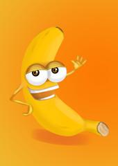Happy banana cartoon character, smiling and waving hand.