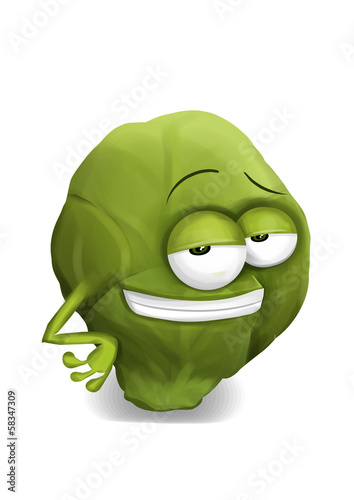 Cool funny brussels sprouts cartoon character with a big smile.