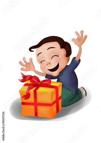 Happy, surprised boy receiving a gift, a box with ribbon