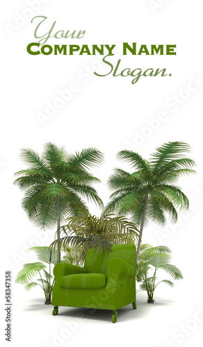 Green sofa in the tropics