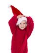 Kleines Mädchen freut sich auf Weihnachten isoliert