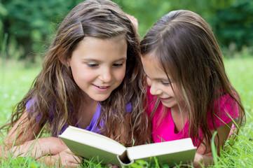 Zwei kleine Mädchen lesen gemeinsam ein Buch