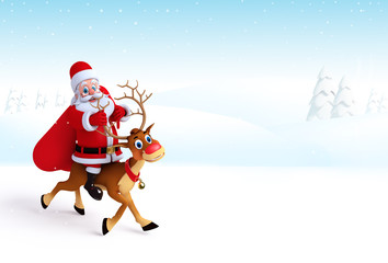 Santa claus sitting on the reindeer