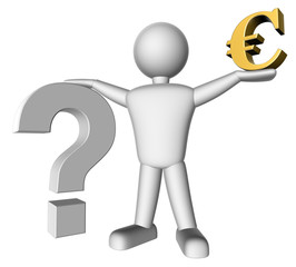 3d people - Risk, euro and question mark