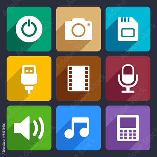 Multimedia flat icons set 2