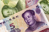 Set of chinese currency money yuan renminbi poster